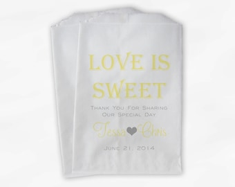 Love Is Sweet Wedding Candy Buffet Treat Bags - Personalized Favor Bags in Light Yellow and Gray - Custom Paper Bags (0069-6)