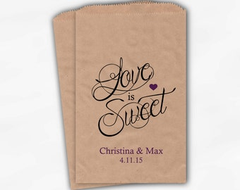 Love Is Sweet Calligraphy Wedding Candy Buffet Treat Bags - Personalized Favor Bags in Purple - Custom Kraft Paper Bags (0122)