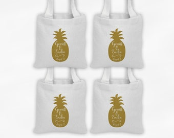 Pineapple Mini Tote Personalized Wedding Party Favor Bags - Set of 4 Custom Wedding Welcome Gift Bags - Reusable Tote Bags