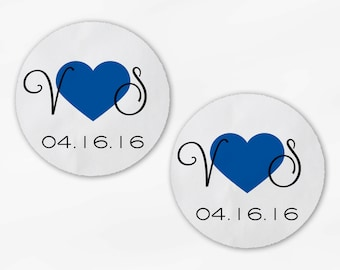 Initials and Heart Wedding Favor Stickers - Royal Blue Custom Candy Buffet White, Kraft Round Labels for Bag Seals, Envelopes (2021)