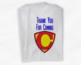 Superhero Party Candy Favor Bags - Custom Thank You Treat Bags for Kids - 25 Paper Bags (0012)