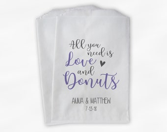 All You Need Is Love and Donuts Wedding Candy Buffet Treat Bags - Personalized Paper Favor Bags in Lavender and Gray - Set of 25 Bags