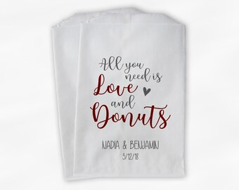 All You Need Is Love and Donuts Wedding Candy Buffet Treat Bags - Personalized Paper Favor Bags in Maroon and Gray - Set of 25 Bags