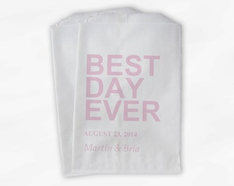 Best Day Ever Wedding Candy Buffet Treat Bags - Light Pink Personalized Favor Bags with Names and Wedding Date - Custom Paper Bags (0064-2)