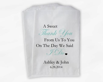 Sweet Thank You Wedding Candy Buffet Treat Bags - Teal Personalized Favor Bags with Couple's Names and Wedding Date (0054-6)