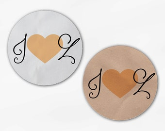 Initials and Heart Wedding Favor Stickers - Peach Custom Candy Buffet White, Kraft Round Labels for Bag Seals, Envelopes (2021)