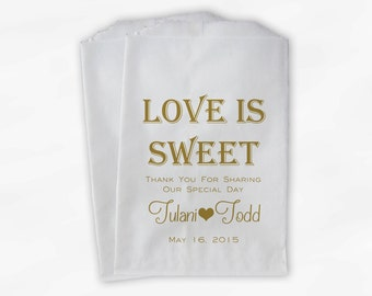 Love Is Sweet Wedding Candy Buffet Treat Bags - Personalized Favor Bags in Gold - Custom Paper Bags (0069)