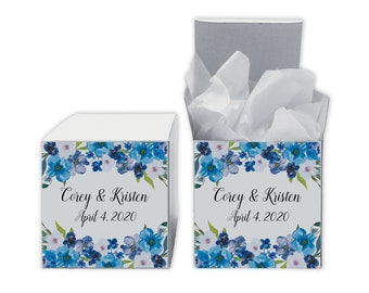 Wedding Favor Boxes - Blue Watercolor Flowers Set of 12 Personalized Treat Containers with Stickers for Favors, Gifts - White Boxes