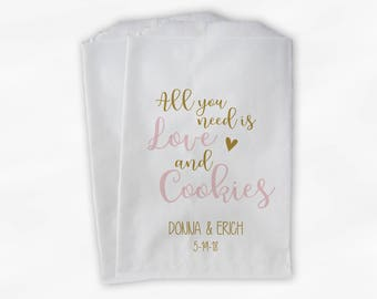 All You Need Is Love and Cookies Wedding Candy Buffet Treat Bags - Personalized Paper Favor Bags in Pink and Gold - Set of 25 Bags (0208)