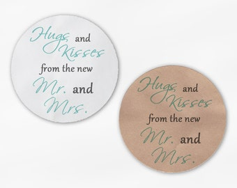 Hugs and Kisses From the New Mr. and Mrs. Wedding Favor Stickers - Mint Green and Dark Gray Custom Round Labels (2015)