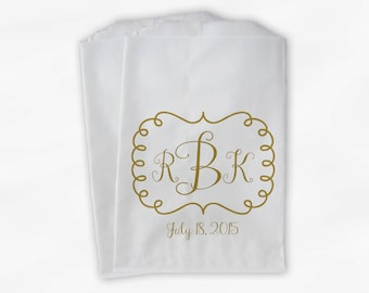 Framed Monogram Candy Buffet Bags - Gold Custom Favor Bags Personalized with Initials and Date - Paper Treat Bags (0124)