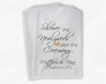 Shower the Couple Confetti Toss Bags - Personalized Peach and Black After Ceremony Custom Paper Bags for Bird Seed, Lavender, Petals (0096)