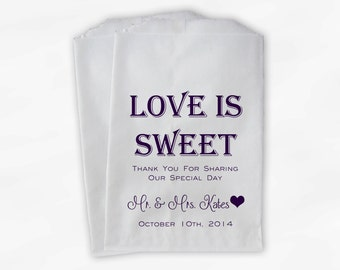 Love Is Sweet Mr and Mrs Wedding Candy Buffet Treat Bags - Personalized Favor Bags in Dark Purple - Custom Paper Bags (0069)
