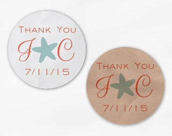 Initials and Heart Wedding Favor Stickers - Coral and Seafoam Star Fish Candy Buffet White, Kraft Round Labels for Bag Seals (2037)