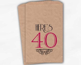 40th Birthday Personalized Candy Buffet Bags - Vintage Here's to 40 Custom Favor Bags in Black and Hot Pink - 25 Paper Treat Bags (0118)