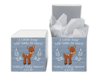 A Little Deer Baby Shower Favor Boxes in Light Blue - Set of 12 Personalized Treat Containers with Stickers for Favors, Gifts - White Boxes