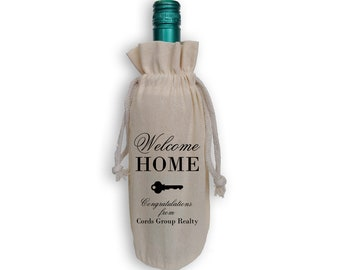 Welcome Home Cotton Wine Gift Bag with Key - Personalized Housewarming Realtor Gift Reusable Gift Bag