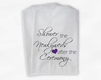 Shower the Couple Confetti Toss Bags - Purple and Black After Ceremony Custom Paper Bags for Bird Seed, Lavender, Flower Petals (0096)