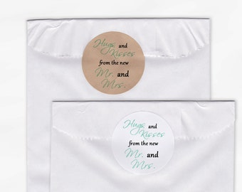 Hugs and Kisses From the New Mr. and Mrs. Wedding Favor Stickers - Mint Green and Black Custom Round Labels (2015)