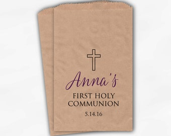 First Communion Favor Bags - Baptism or Religious Party Custom Favor Bags - Set of 25 Purple and Black Kraft Paper Treat Bags (0186)