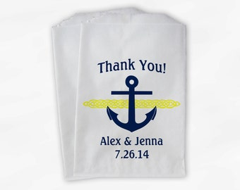 Nautical Anchor Wedding Favor Bags - Personalized Navy Blue and Yellow Custom Treat Bags for Candy Buffet - Paper Bags (0047-2)