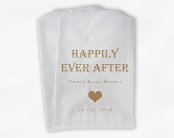 Happily Ever After Favor Bags for Candy Buffet - Tan Bridal Shower Customized Favor Bags - Paper Treat Bags (0196)