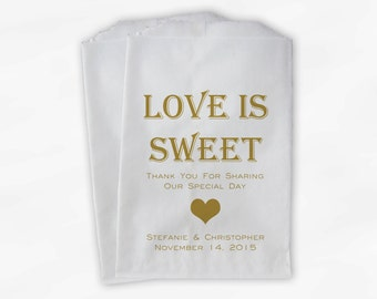 Love Is Sweet Candy Buffet Treat Bags - Personalized Wedding Favor Bags in Gold - Custom Paper Bags (0167)