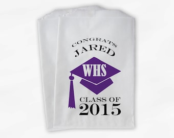 2018 Graduation Cap Personalized Candy Buffet Bags - Set of 25 Purple and White High School Grad Party Favor Bags in School Colors (0060)