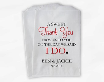 Wedding Candy Buffet Treat Bags - A Sweet Thank You Red Personalized Favor Bags with Bride and Groom's Names and Wedding Date (0085)
