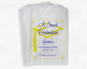 Graduation Favor Bags - 2018 Sweet Celebration Party Custom Favor Bags - Set of 25 Blue and Yellow Paper Treat Bags (0076)