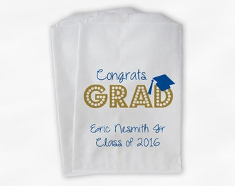 2018 Congrats Grad Graduation Party Personalized Candy Buffet Bags - Set of 25 Blue & Gold High School Favor Bags in School Colors (0191)