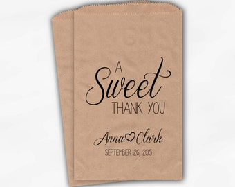 A Sweet Thank You Wedding Candy Buffet Treat Bags - Black Personalized Favor Bags with Names and Wedding Date - Kraft Paper Bags (0153)