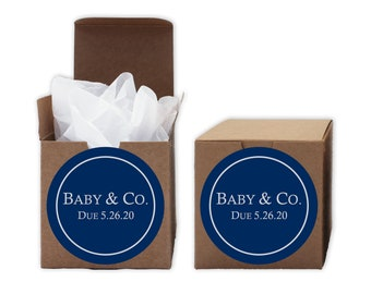 Baby Shower Favor Boxes in Navy Blue - Baby & Co. Set of 12 Personalized Treat Containers with Round Stickers for Favor, Gifts - Kraft Boxes