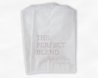 The Perfect Blend Coffee Favor Bags - Pale Blush Personalized Wedding Favor Bags with Names and Date - Custom Paper Bags (0219)