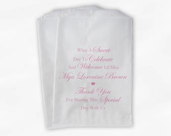 Sweet Day to Celebrate Baby Shower Candy Buffet Treat Bags - Set of 25 Pink Personalized Favor Bags (0176)