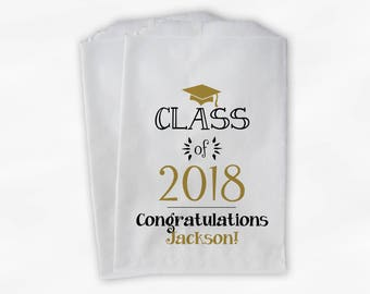 Class of 2019 Personalized Treat Bags - Set of 25 Black & Gold High School Graduation Party Custom Favor Bags in School Colors