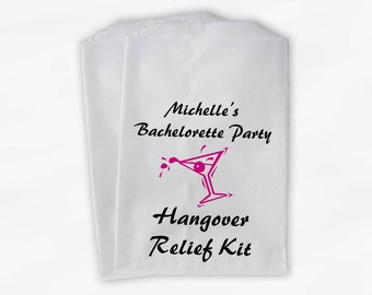 Bachelorette Party Favor Bags - Hangover Relief with Martini Custom Favor Bags in Hot Pink and Black - 25 Paper Treat Bags (0020)