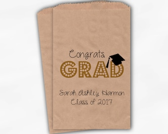 2018 Congrats Grad Graduation Party Personalized Treat Bags - Set of 25 Gold High School Kraft Paper Favor Bags in School Colors (0191)