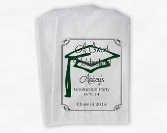 Graduation Favor Bags - 2018 Sweet Celebration Party Custom Favor Bags - Set of 25 Dark Green Paper Treat Bags (0076)