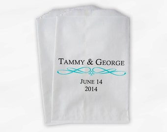 Custom Wedding Candy Buffet Paper Treat Bags Personalized with Bride and Groom - Favor Bags with Couple's Names and Wedding Date (0044)