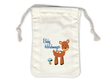 Woodland Deer Baby Shower Personalized Cotton Bags for Favors in Blue - Ivory Fabric Drawstring Bags - Set of 12 (1032)