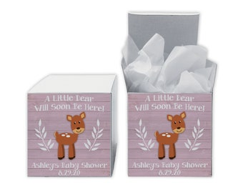 A Little Deer Baby Shower Favor Boxes in Light Pink - Set of 12 Personalized Treat Containers with Stickers for Favors, Gifts - White Boxes
