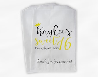Sweet 16 Birthday Personalized Candy Buffet Bags with Crown - Black and Yellow Thank You Custom Favor Bags - 25 Paper Treat Bags