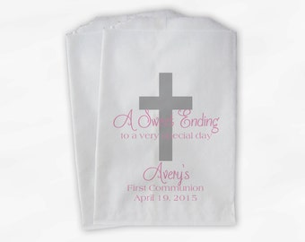 First Communion Favor Bags - Baptism or Religious Party Custom Favor Bags - Set of 25 Pink and Silver Paper Treat Bags (0073)