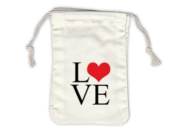 Love Typography with Heart Cotton Bags for Wedding Favors in Black and Red - Ivory Fabric Drawstring Bags - Set of 12 (1005)