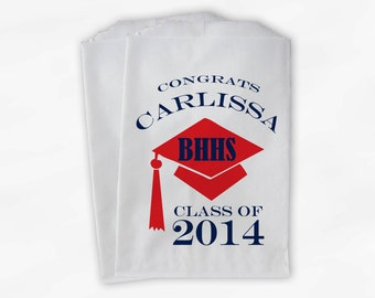 2018 Graduation Cap Personalized Candy Buffet Bags - Red and Navy High School Grad Party Custom Favor Bags in School Colors- 25 Bags (0060)