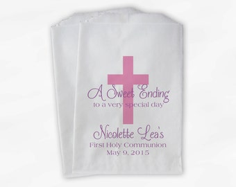 First Communion Favor Bags - Baptism or Religious Party Custom Favor Bags - Set of 25 Pink and Purple Paper Treat Bags (0073)
