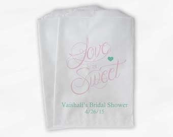 Love Is Sweet Calligraphy Bridal Shower Candy Buffet Treat Bags - Personalized Favor Bags in Light Pink and Mint - 25 Paper Bags (0122)