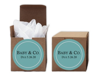 Baby Shower Favor Boxes in Light Teal Blue - Baby & Co. Set of 12 Personalized Treat Containers with Round Stickers - Kraft Boxes
