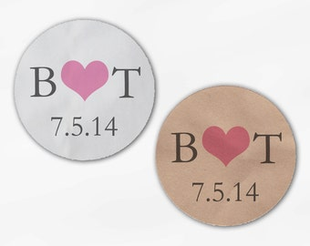 Initials & Heart Wedding Favor Stickers - Pink and Gray Custom White Or Kraft Round Labels for Bag Seals, Envelopes, Mason Jars (2004)